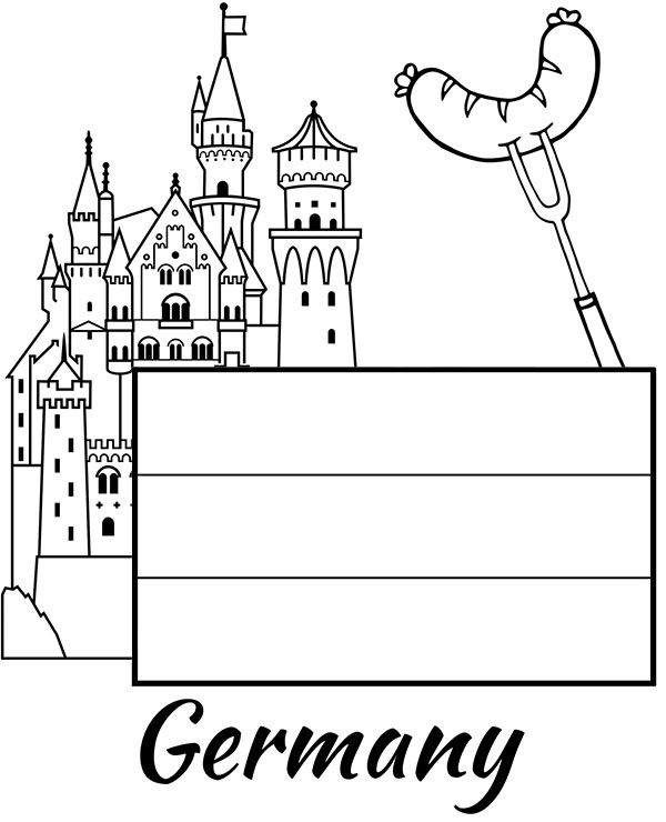 Germany Flag Coloring Sheets For Children To Print Sausage Flag Coloring Pages Germany Flag German Flag Colors