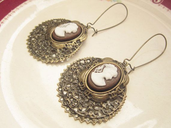 Cameo jewelry cameo earrings victorian jewelry vintage bohemian cameo jewelry cameo earrings victorian jewelry vintage bohemian earrings filigree lace silhouette jewelry antique brass aloadofball Gallery