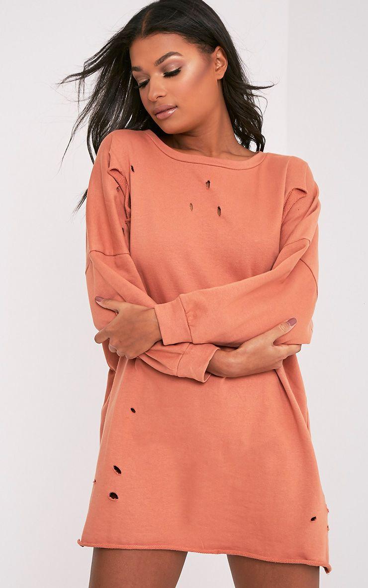 Emilia Deep Peach Distressed Raw Edge Sweater Dress | Dresses ...