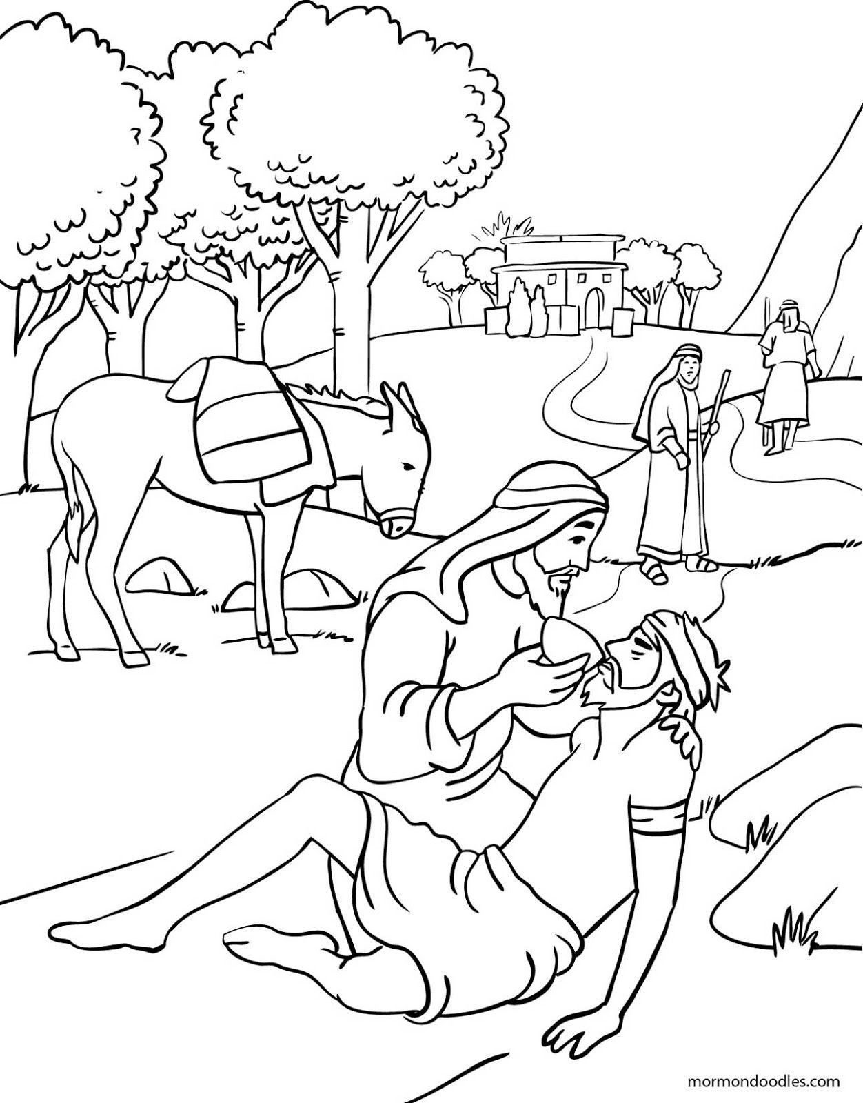 The Good Samaritan Coloring Pages : samaritan, coloring, pages, Mormon, Doodles:, Samaritan, Coloring, Sunday, School, Pages,, Bible,, Bible, Pages