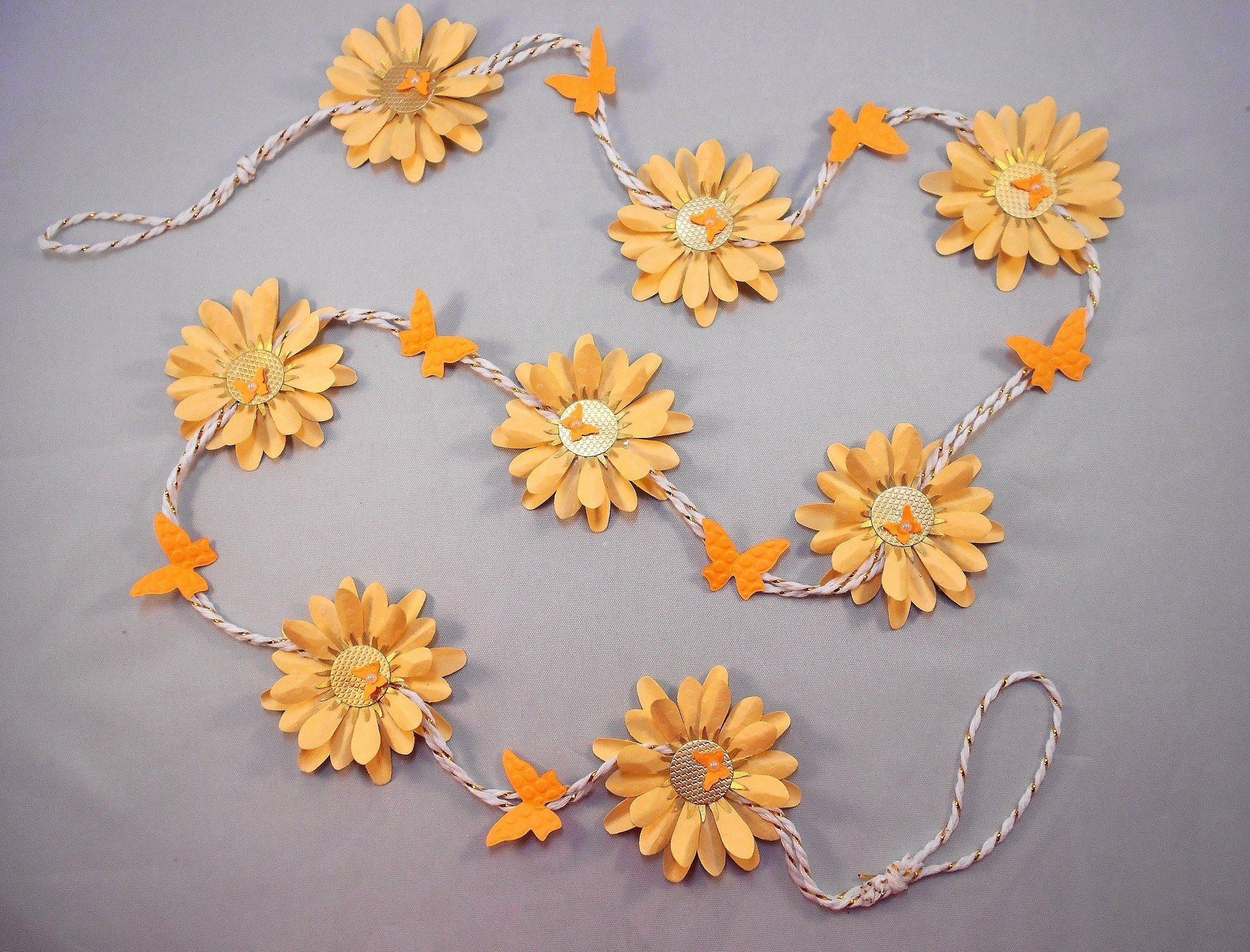 Paper Flower Garland with Butterflies, Party Decor, Fireplace Mantle Garland, Baby Shower, Ladies Luncheon Table Decoration - READY TO SHIP #paperflowergarlands