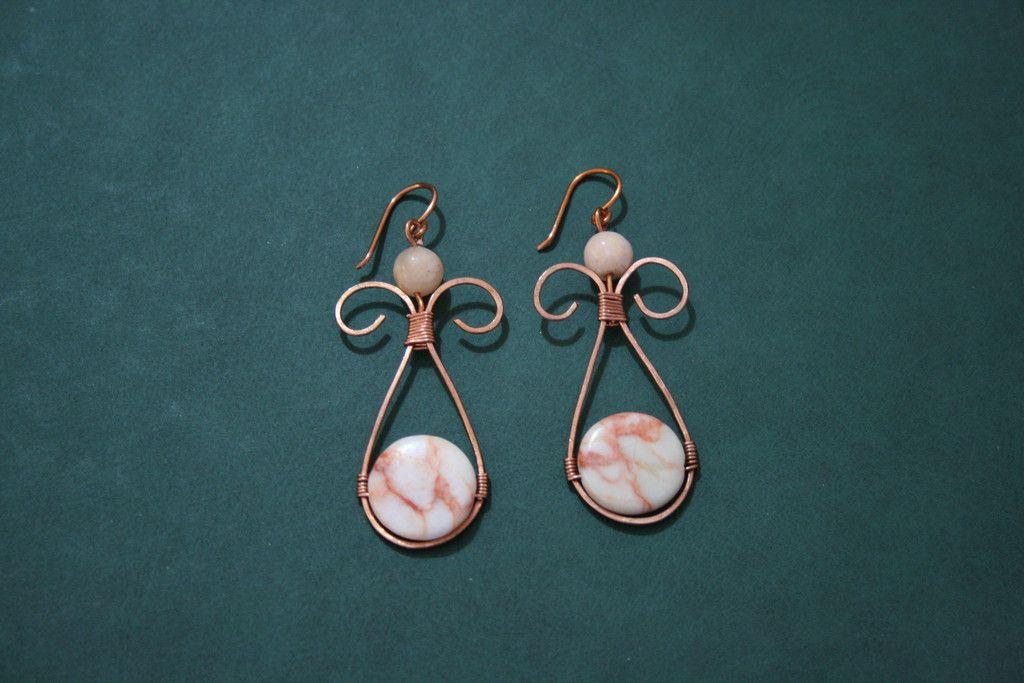 Σκουλαρικια με συρμα χαλκου και χαντρες-Εarrings with copper wire ...