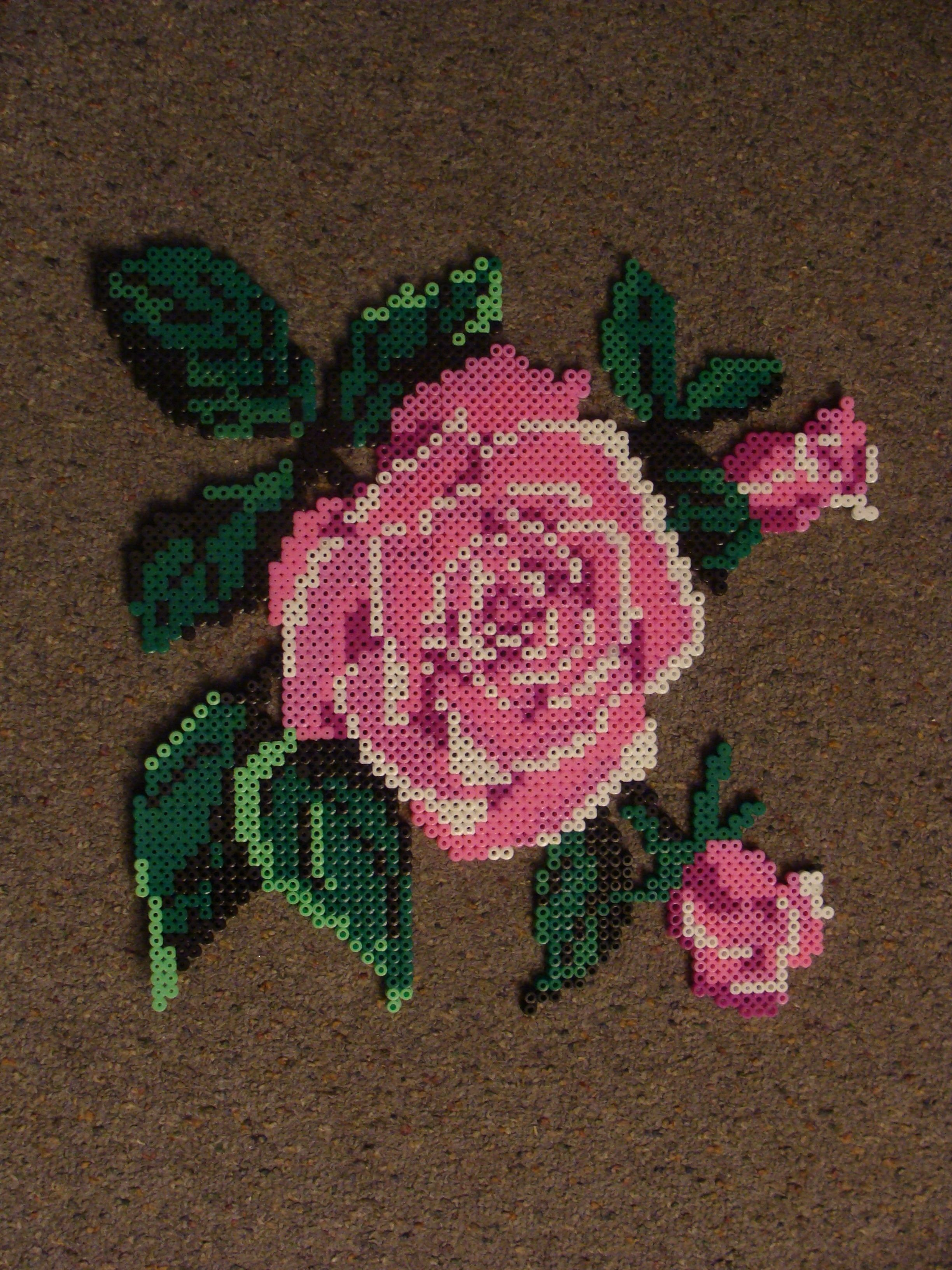Rose Perler beads by Yelenna on deviantart
