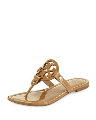 f91d7d058 Tory Burch Medallion Patent Leather Flat Thong