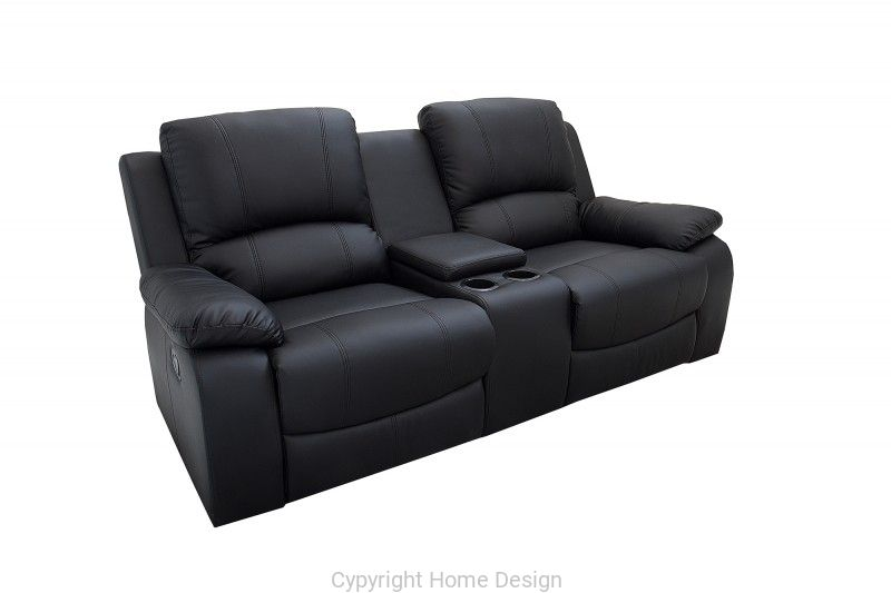 Interior Fotel Kinowy 2 Osoby Hollywood Skora Czarny 188cm