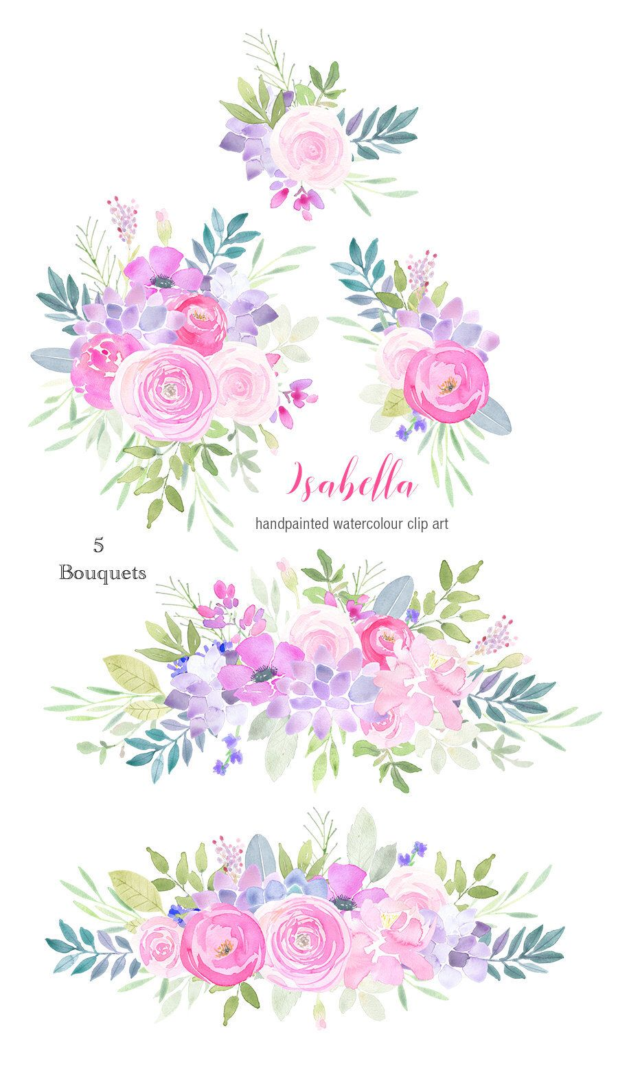 Watercolor Floral Clipart - flower bouquets, pink succulents, roses ...