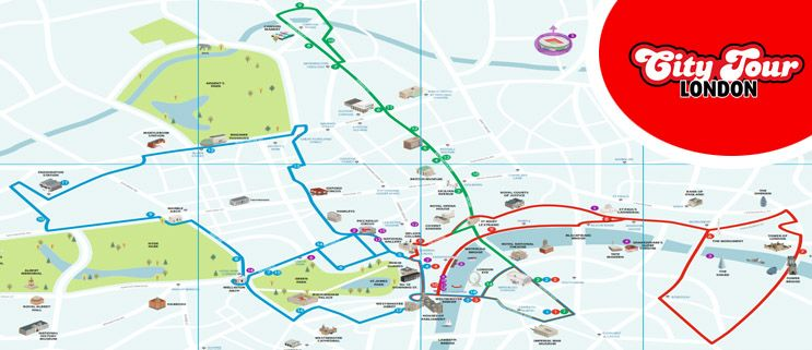London City Bus Map.The Official Tourist Bus Routes London City Tour Geography