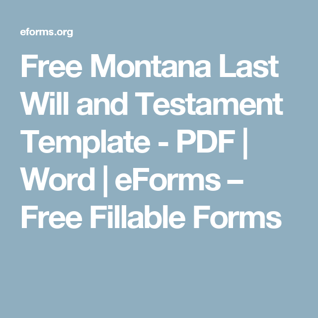 Free Montana Last Will And Testament Template  Pdf  Word