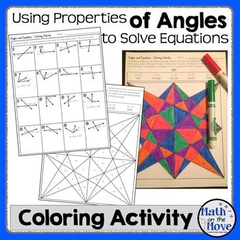 Angle Properties And Solving Equations Coloring Activity 7 G 5