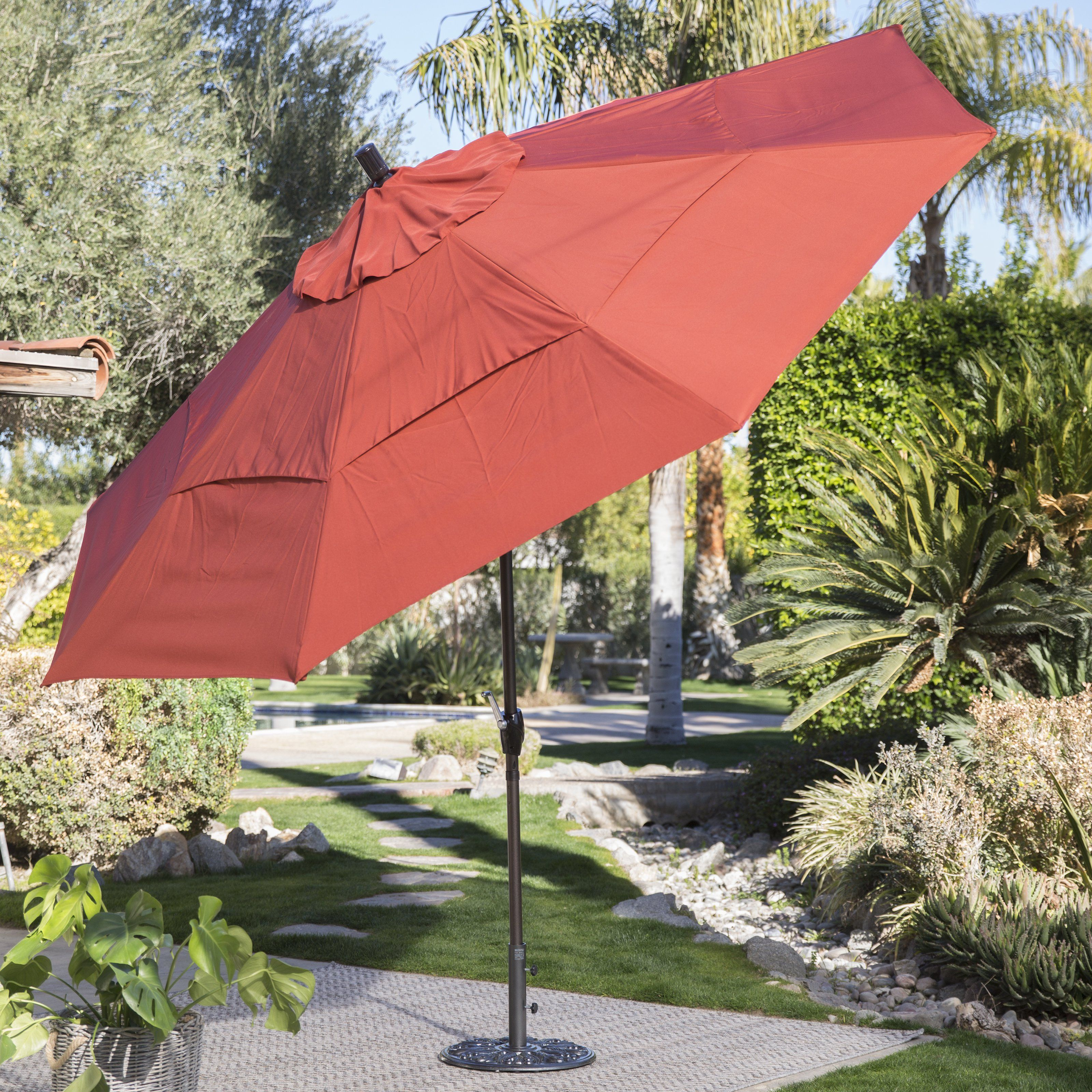 Coral Coast 11 ft Spun Polyster Patio Umbrella with Push Button