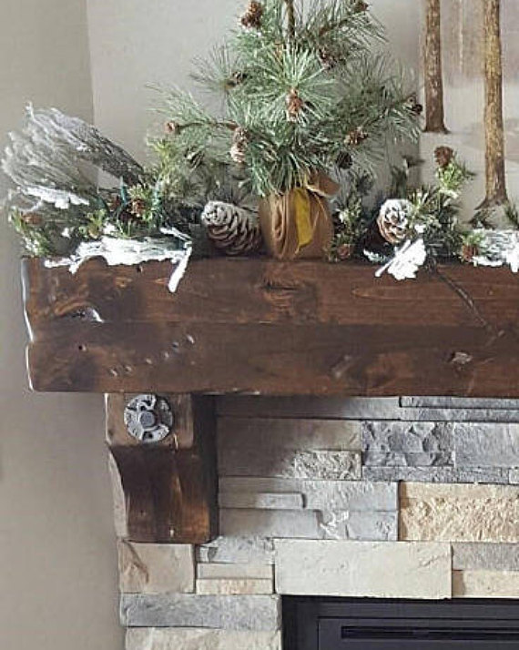 Vintage Fireplace Mantel Wooden Floating Rustic Knotty Alder Salvaged Beam Post Tie Rail Timber Dist Vintage Fireplace Fireplace Mantels Stained Wood Beams