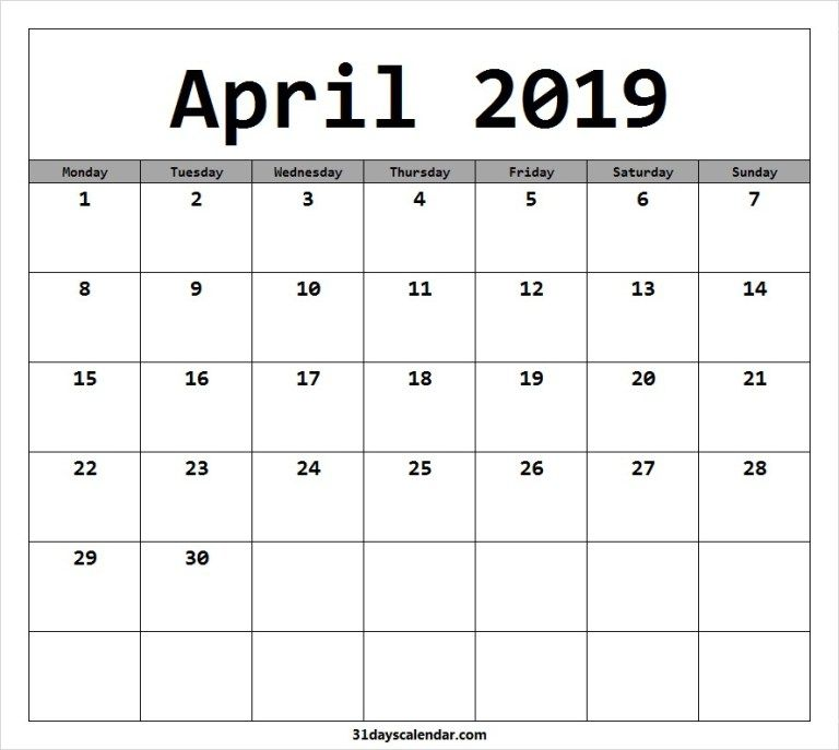 Free April 2019 Monday Start Image Picture For Desktop