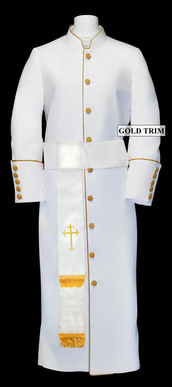 182 W. Women\'s Pastor/Clergy Robe - White/Gold Cincture Set | Church ...