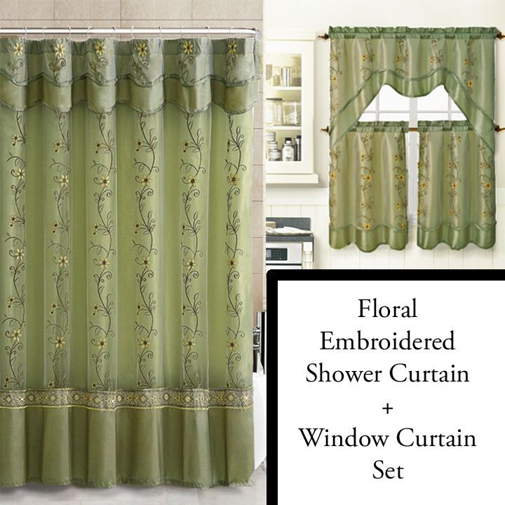Sage Shower Curtain And 3 Pc Window Curtain Set Bathroom Decor