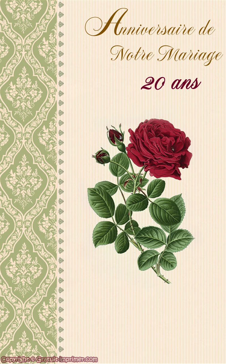 carte anniversaire de mariage 20 ans saisons et jours de f te pinterest. Black Bedroom Furniture Sets. Home Design Ideas