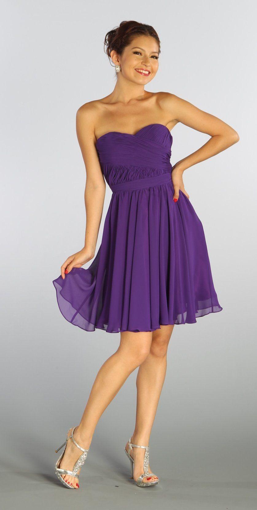 Strapless Chiffon Short Purple Bridesmaid Dress Knee Length ...