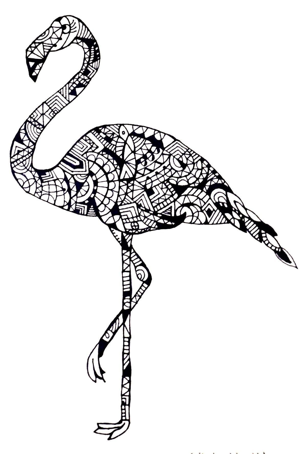 flamingo by cecilie wilsborg 2014 zentangle inspiration ausmalbilder ausmalen windowcolor. Black Bedroom Furniture Sets. Home Design Ideas