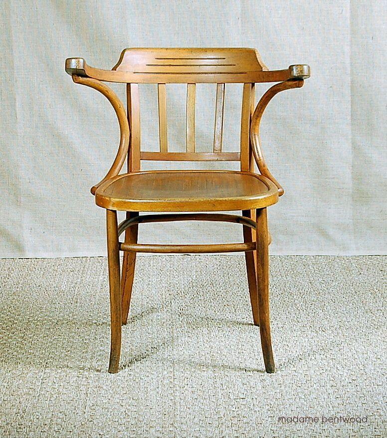Chaise Fauteuil De Bureau Style Bistrot En Bois Courbe Baumann