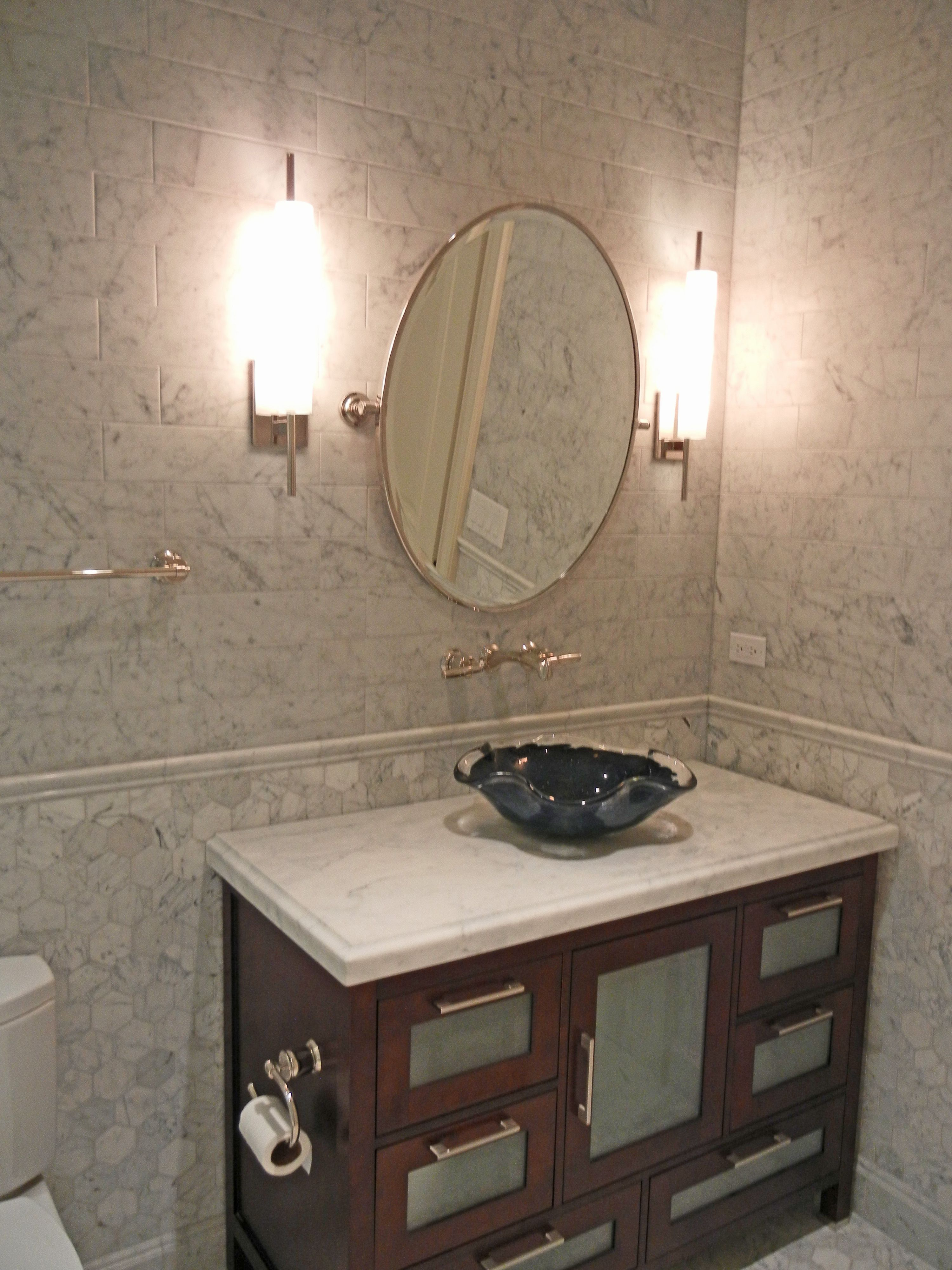 Remodeled Bathroom Glazer Design And Construction Round Mirror