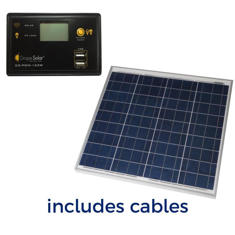 Grape Solar 50 Watt Off Grid Solar Panel Kit Gs 50 Kit In 2020 Solar Panel Kits Solar Panels Off Grid Solar Panels