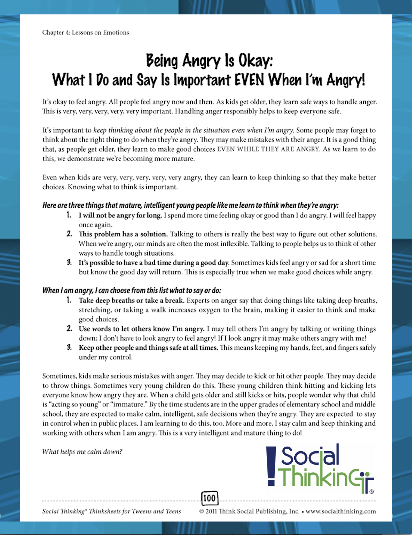 Free Thinksheet Being Angry Is Okay What I Do And Say Is Important Even When I M Angry From