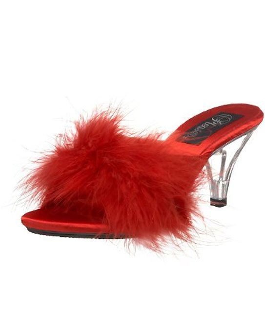56120b2fe7c red Fuzzy Trim Slippers with 3 Inch Clear High Heel