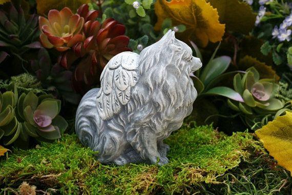 Pomeranian Angel Dog Statue Dog Angel Memorial In Solid Concrete