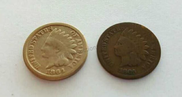 1864 and 1865 Indian Head One Cent Coins