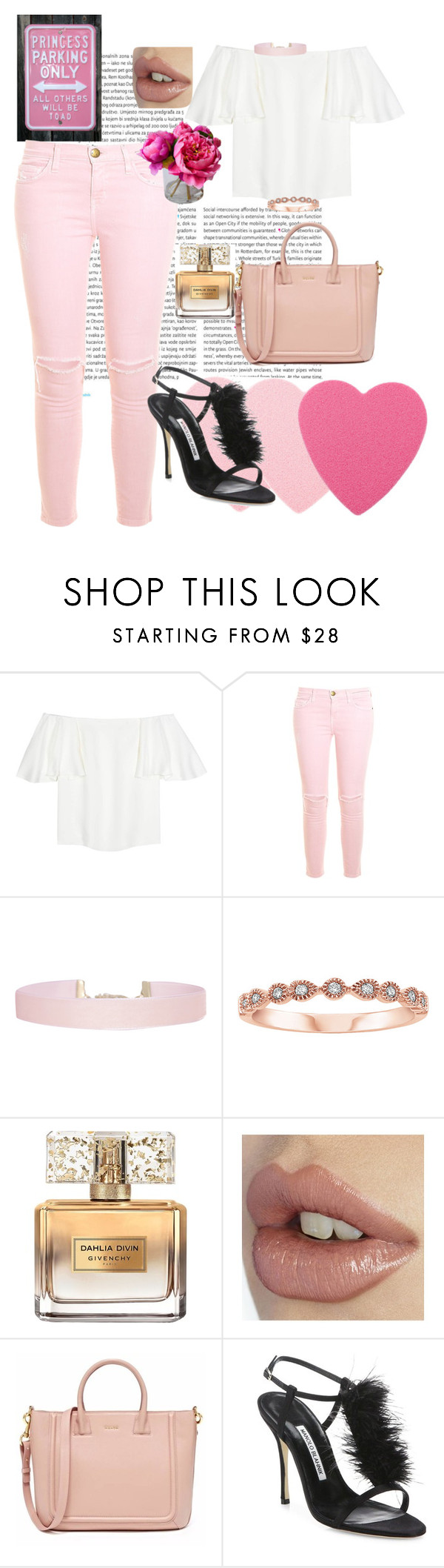 """""""Girls day"""" by beautylv ❤ liked on Polyvore featuring Oris, Valentino, Current/Elliott, Humble Chic, Givenchy and Manolo Blahnik"""