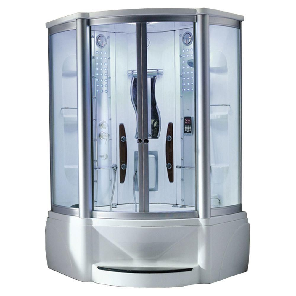 Ariel 48 in. x 48 in. x 89 in. Steam Shower Enclosure Kit with ...