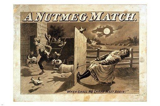 vintage A NUTMEG MATCH print poster UNIQUE ART farm scene SEPIA TONE 24X36