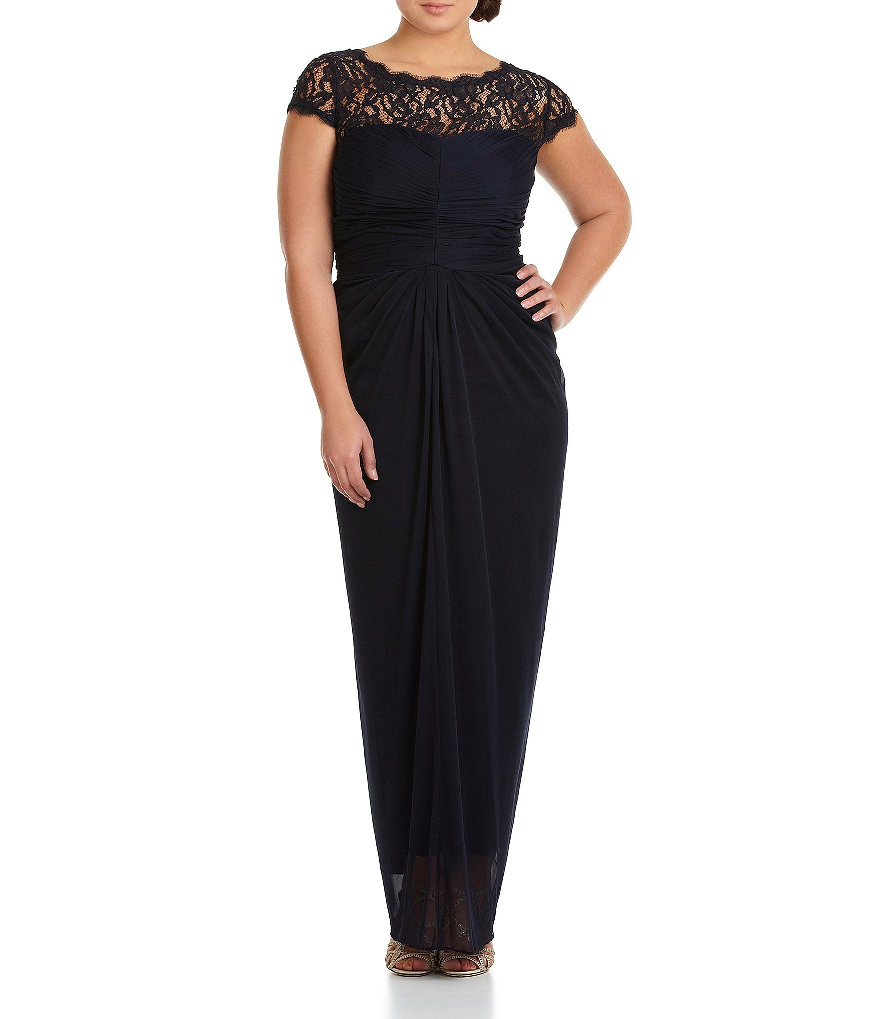 Adrianna Papell Plus Lace-Yoke Gown | Adrianna papell, Dillards and ...
