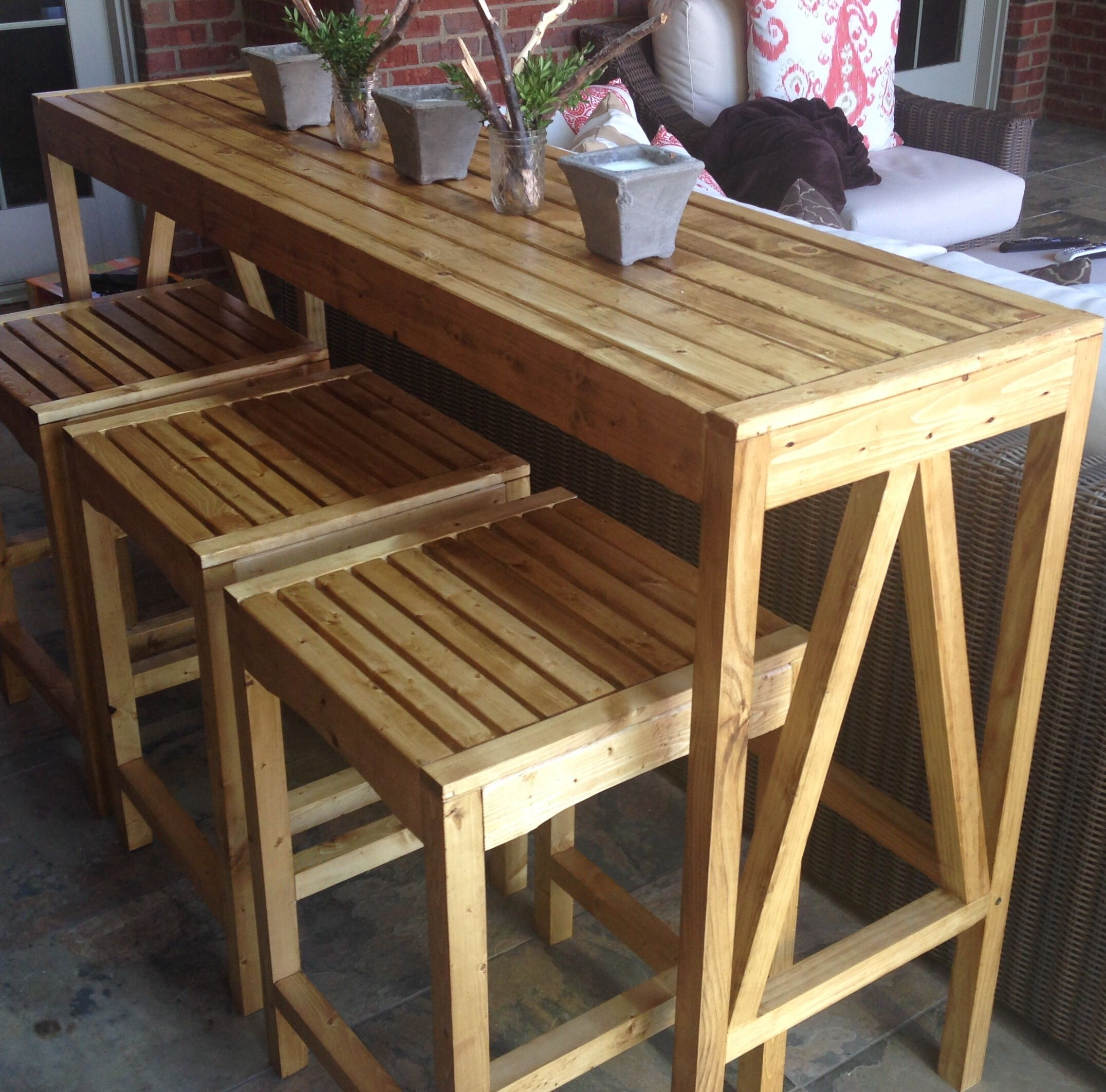 Build your own diy sutton custom outdoor bar stools with for Diy balcony bar