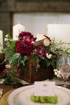 Jewel toned autumn woodland wedding shoot antler centerpiece burgundy wedding rustic wood and antler centerpiece junglespirit Images