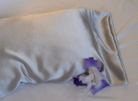 Silk Standard Pillowcase Silver French Seamed by AdorabellaBaby, $42.50