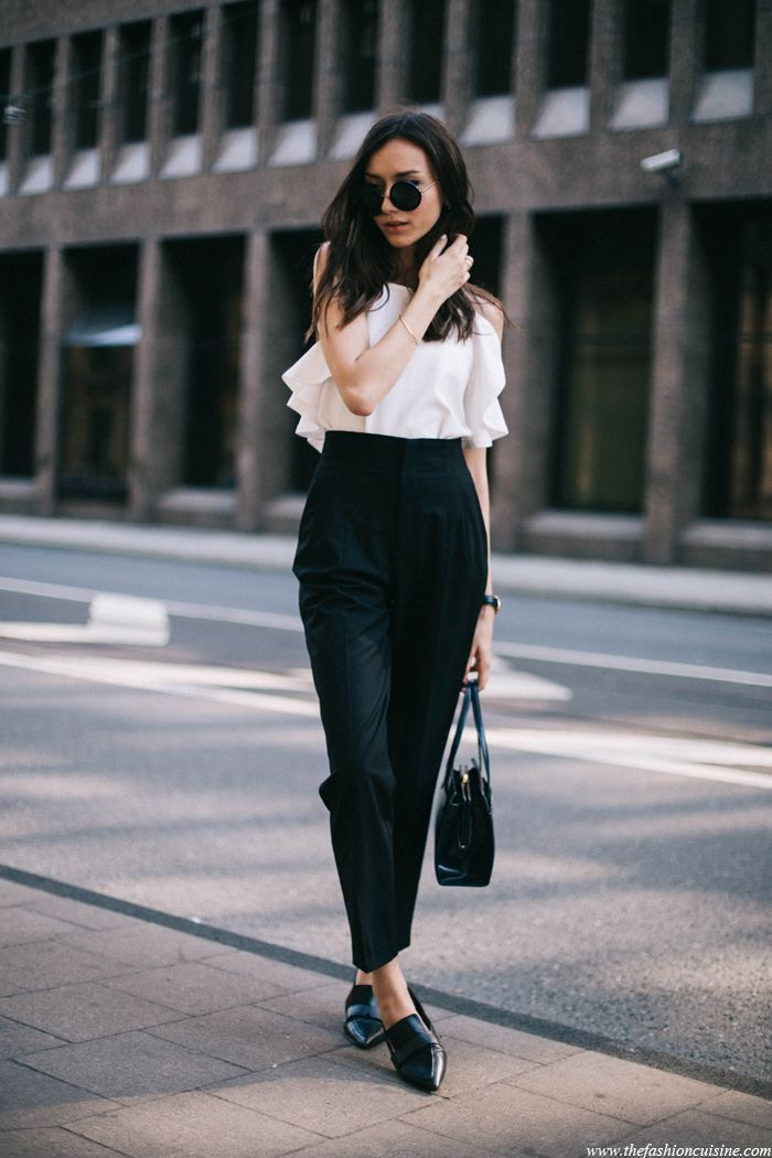 Tendance Chaussures 2017 2018 High Waisted Pants Ruffle Top Loafers Fashion Cuisine