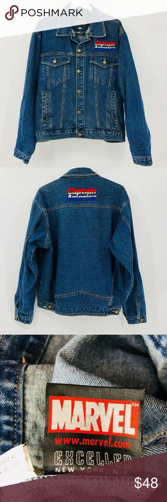 Marvel Captain America Embroidered Denim Jacket Embroidered Denim Jacket Embroidered Denim Denim Jacket [ 1740 x 580 Pixel ]