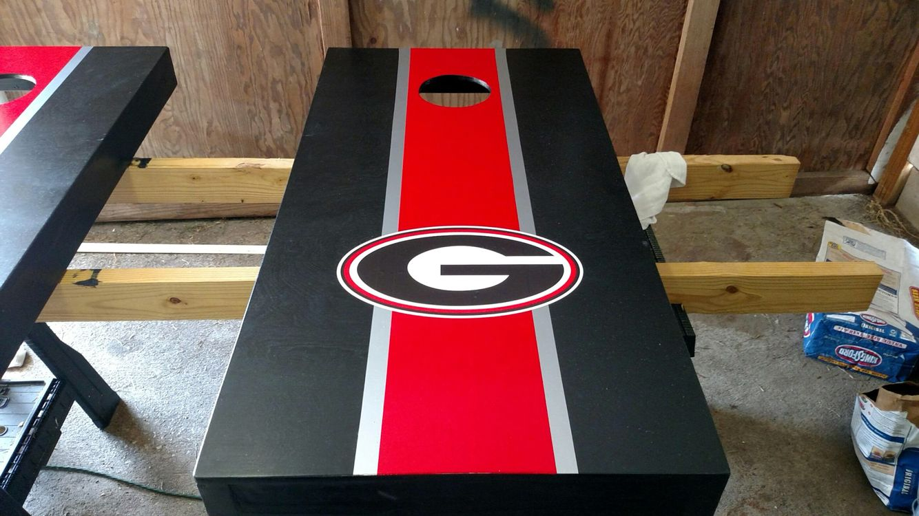 UGA cornhole boards Ray & I built and decorated. J (With