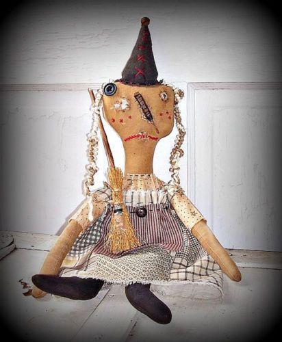 Primitive-Grungy-Folk-Art-Whimsy-Halloween-Witch-Hag-Doll-YoLanda-Broom-Potion-B