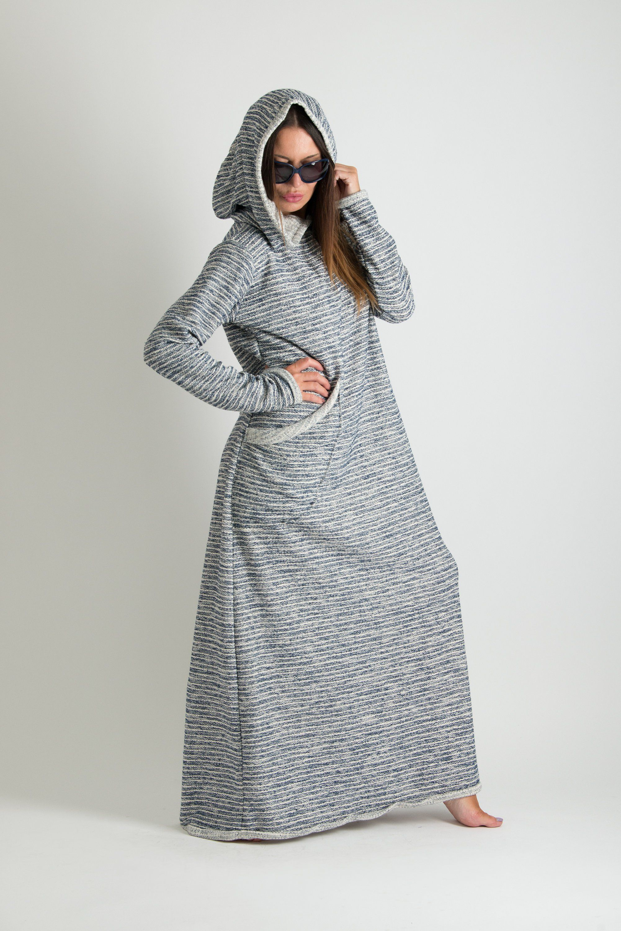 Autumn blue hoodie dress plus size long women maxi dress hooded