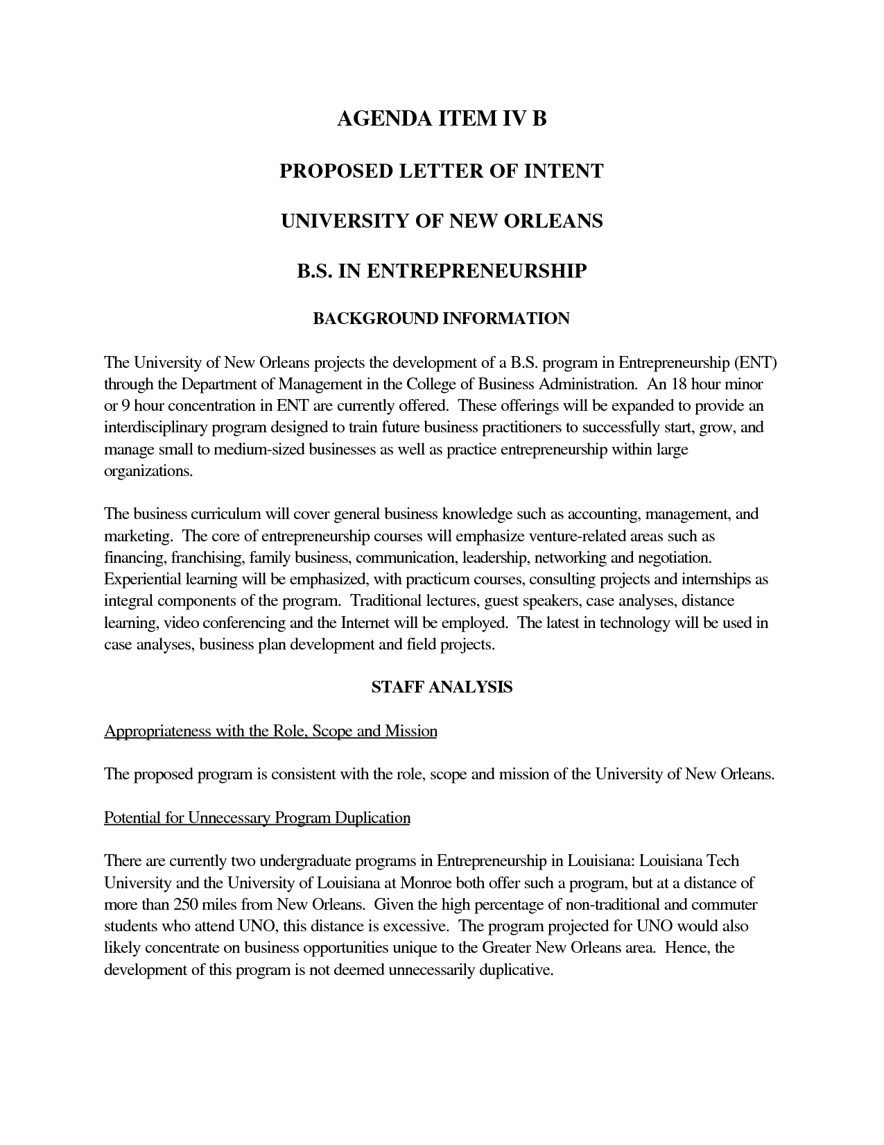Letter Of Intent Template University   Google Haku  Business Letter Of Intent Sample Template
