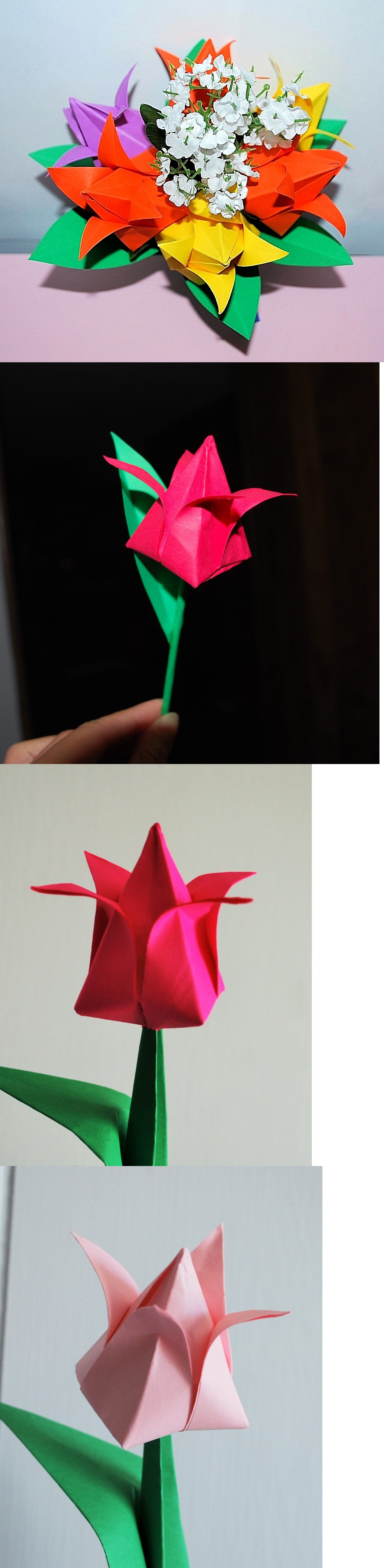 Origami 134596 Origami Paper Tulips Flowers Bouquet Centerpiece