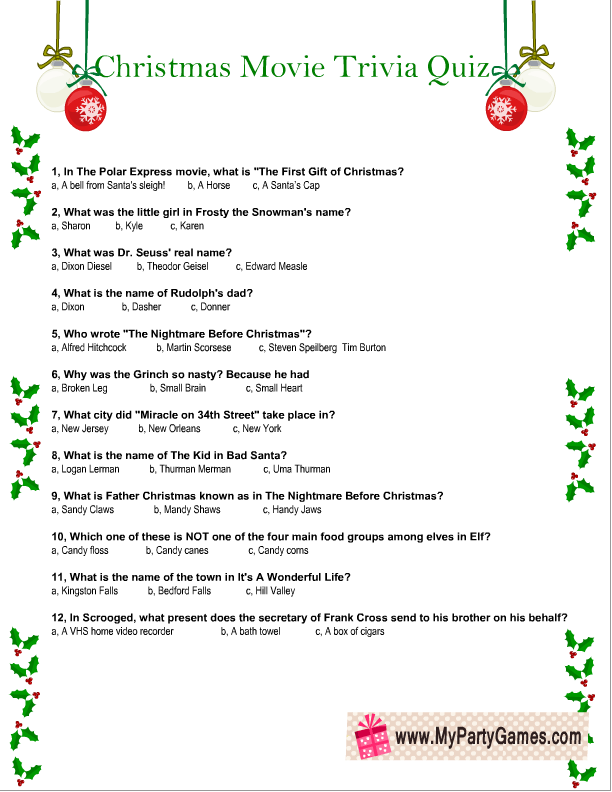 Free Printable Christmas Movie Trivia Quiz Worksheet Christmas Movie Trivia Printable Christmas Games Christmas Trivia