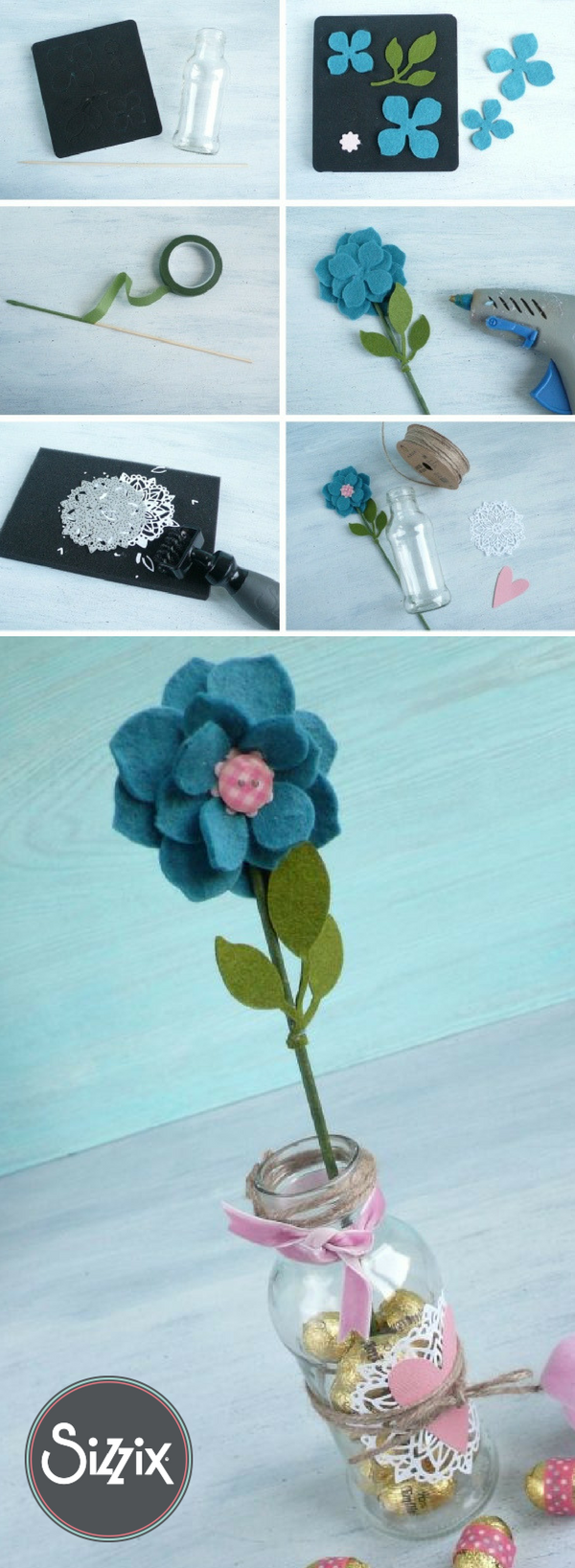 How to make an Easter felt flower using Sizzix dies. #feltflowertemplate How to make an Easter felt flower using Sizzix dies. #feltflowertemplate