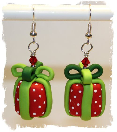 Polymer Clay Christmas Jewelry.Polymer Clay Christmas Present Earrings By
