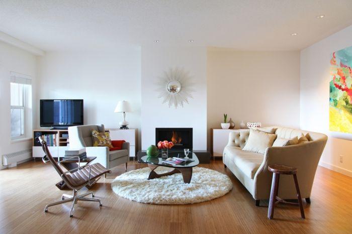Wohnzimmer Einrichten Beispiele Runder Teppich Feuerstelle - Wohnzimmer einrichten beispiele