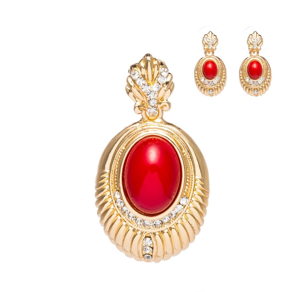 New women red stone earrings pendants necklace golden jewelry sets