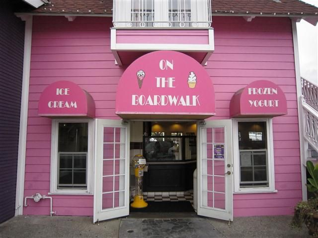 Ridecolorfully To A Pink Ice Cream Parlor Pink Candy Old Fashioned Ice Cream Pink Houses