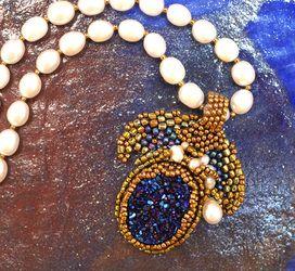Linda Ferguson- Blue Drusy Seed Bead Pendant Necklace