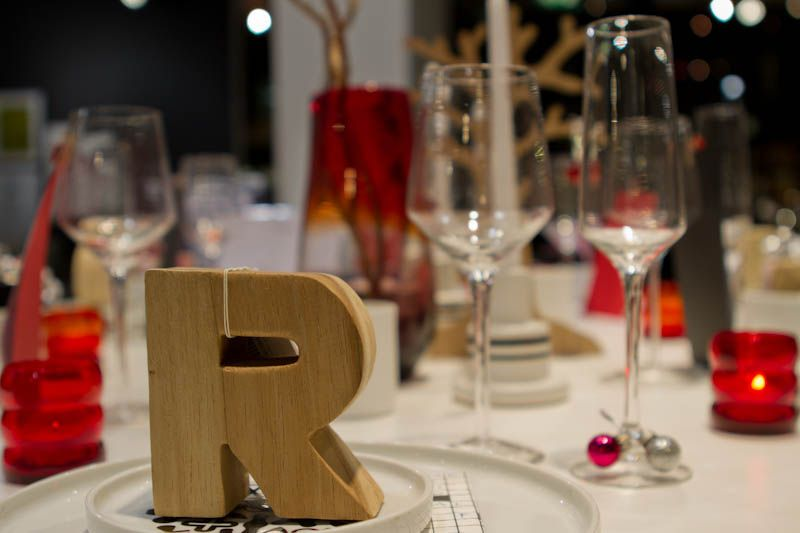 Why not use sculptural letters instead of traditional place cards? Can be combined with party favours.